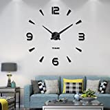 Vangold Large DIY Frameless Wall Clock Modern Mute 3D Wall Clock Mirror Stickers Home Office Decorations Gift (2-Year Warranty) (Black-73)