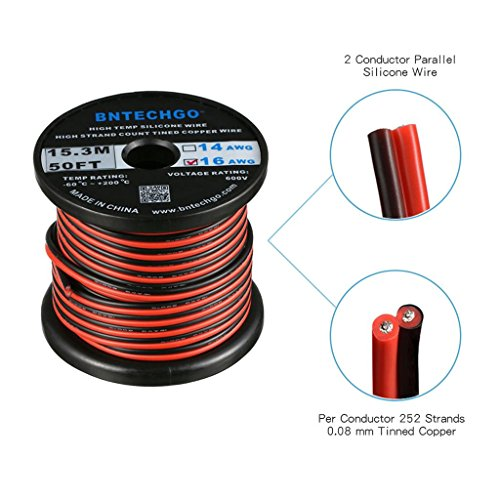 BNTECHGO 16 Gauge Flexible 2 Conductor Parallel Silicone Wire Spool Red Black High Resistant 200 deg C 600V for Single Color LED Strip Extension Cable Cord,Model,Lead Wire 50ft Stranded Copper Wire ()