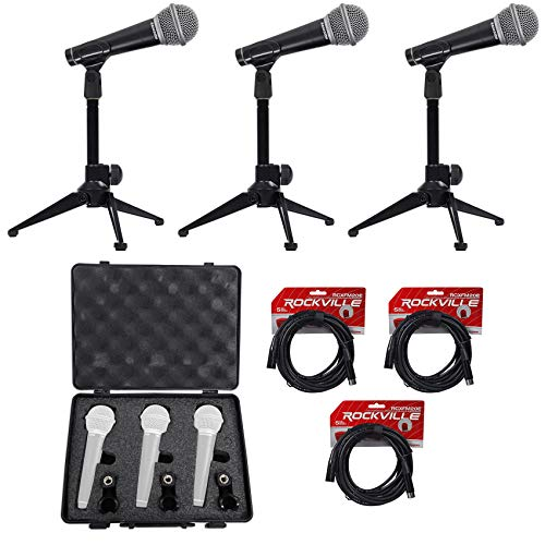 Samson R21 (3) Dynamic Vocal Cardioid Microphones+Mic Stands+Clips+Case+Cables