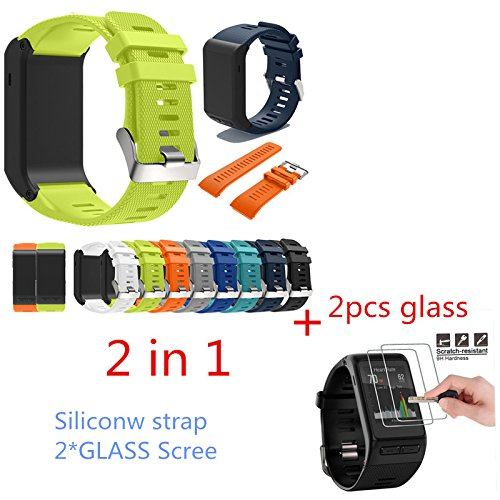 UTP 2in1 Sports Silicone Bracelet Band for Garmin vivoactive HR Strap Belt TPU Fitness Tracker Wristband+2PCS Glass Screen Protector