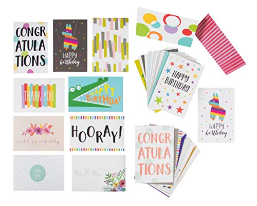 48 Pack Assorted All Occasion Greeting Cards, Blank Note Card, Includes Happy Birthday, Congratulations, Thank You Cards Assortment Designs, Bulk Box Set Variety Pack, Envelopes Included, 4 x 6 Inches ()