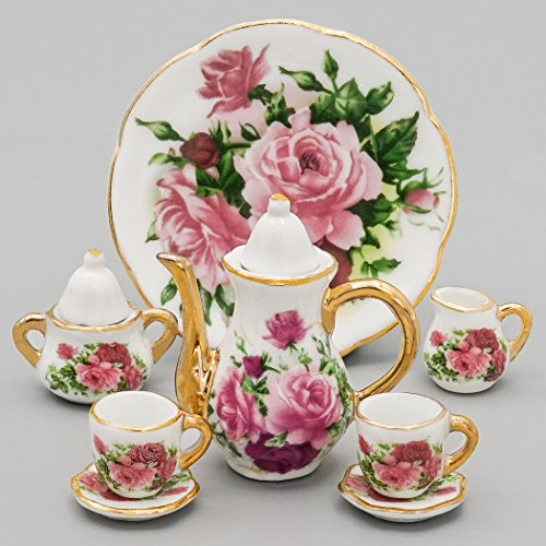 (Odoria 1:6 Miniature 8PCS Porcelain Tea Cup Set Pink Rose Chintz with Gold Trim Dollhouse Kitchen Accessories )