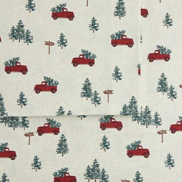 CUDDL DUDS FLANNEL SNOWMEN /& TREES DESIGN 4 PIECE QUEEN SIZE SHEET SET NEW