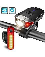 ITSHINY USB Bike light Set Rechargeable, LED Headlight Taillight Combinations