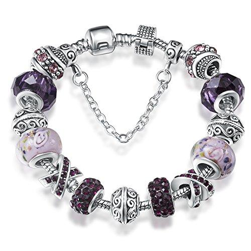 """A TE® Bracelet Charms Violet Femmes """"Rêve Fascinant"""" Cadeau #JW-B139"""