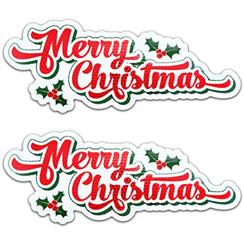 Bigtime Signs Merry Christmas Reflective Holiday Car Magnet with Printed Holly | Automotive Holiday Decoration| for Fridge or Car | 2 - Pack | 4.25