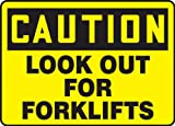 Accuform MVHR661VP Sign, Legend''CAUTION LOOK OUT FOR FORKLIFTS'', 10'' Length x 14'' Width x 0.055'' Thickness, Plastic, 10'' x 14'', Black on Yellow