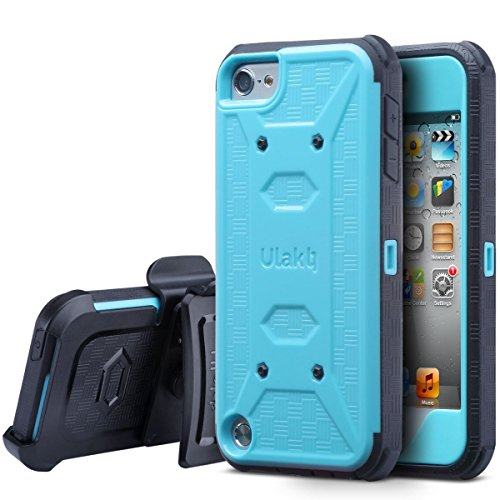 ULAK iPod Touch 6th Generation case with Screen Protector, Belt Clip Holster Kickstand Shockproof Fullbody Protective Case Bumper Hard Cover for Apple iPod Touch 5/6th/ 7th Generation, Blue (Best Screen Protector For Ipod Touch 5th Generation)