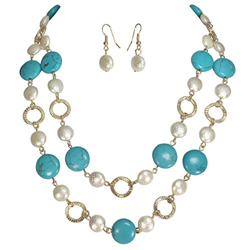 Gypsy Jewels 2 Row Simulated Turquoise & Imitation Pearl Layered Gold Tone Necklace Earring Set (Simulated Coin Pearl)
