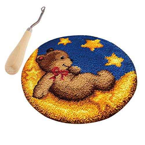 Prettyia Toy Bear Latch Hook Rug Kits for Beginners Wooden Crochet Needle Embroidery ()