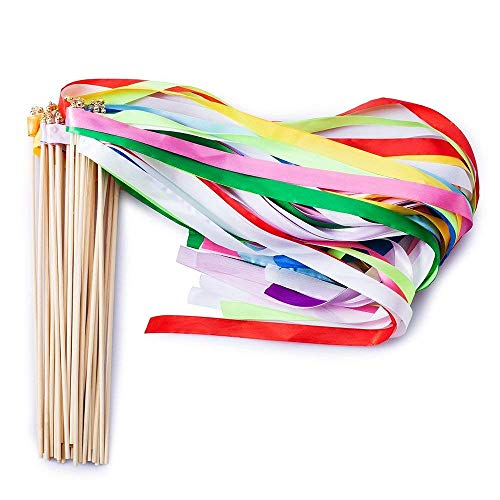 Ribbon Wands Mix Color Chromatic Silk Ribbon with Bells Fairy Stick Wish Wands for Wedding Party Activities (Pack of 20)]()
