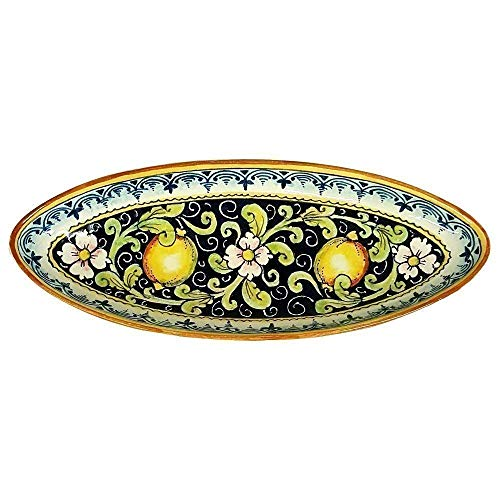 CERAMICHE D'ARTE PARRINI - Italian Ceramic Art Pottery Serving Bowl Centerpieces Tray Hand Painted Decorative Lemons Tuscan Made in ITALY ()