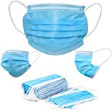 Hannah Linen Face Mask - 50 PCS Disposable Masks - 3 PLY, Breathable & Comfortable - Use Indoor & Outdoor - For Men & Women - Blue Color
