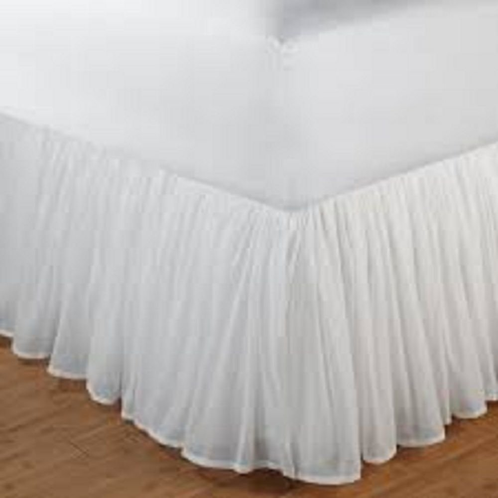 Aashi Rainwear 110 GSM Microfiber Bedskirt Sateen Finish Wrap with Platform Easy Fit Gathered Style 3 Sided Coverage Queen 15'' Drop White