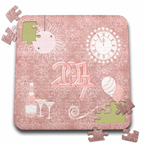 (Beverly Turner New Years Design - New Year 2017, Champagne, Glasses, Clock, Balloon, Whistle, pink - 10x10 Inch Puzzle)