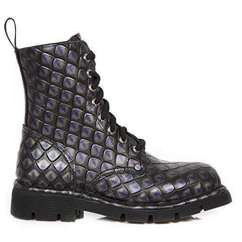 Rock Women's Heavy Purple Ladies Men's S52 Heel Combat Punk Military Ankle Leather New Unisex M Gothic NEWMILI084 Boots Lilac p8wpdB
