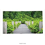 Custom printed Throw Blanket with Decor Collection Wooden Bridge Surrounded by Mangroves Forest with Dense Foliage Thailand Picture Lawn Green Grey Super soft and Cozy Fleece Blanket