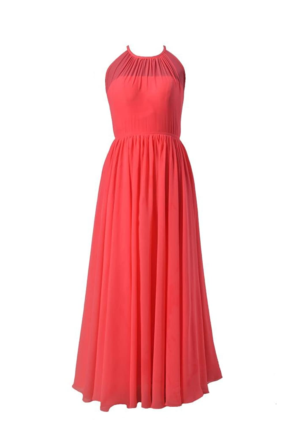 DaisyFormals Long Chiffon Bridesmaid Dress Illusion Neckline Party Gown(BM5197L)