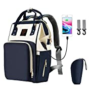 Pieviev Diaper Bag Backpack,Diaper Bag for Girls with USB Charging Port Velcro Strap,Waterproof Maternity Nappy Bags for Travel with Baby -24L Large Capacity, Durable and Stylish,Blue