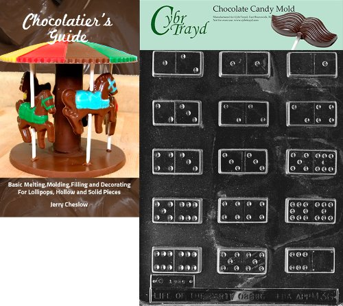 Cybrtrayd Dominoes Miscellaneous Chocolate Candy Mold with Chocolatier's Guide Instructions Book Manual