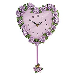 Beautiful Lavender Rose Heart Pendulum Wall Clock to Instantly Add a Touch of Color and Floral Charm