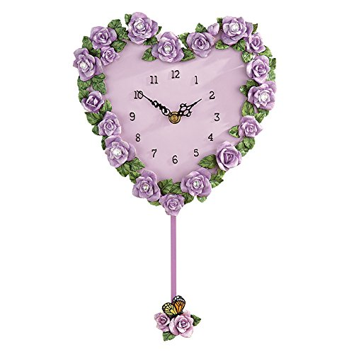 - Collections Etc Beautiful Lavender Rose Heart Pendulum Wall Clock to Instantly Add a Touch of Color and Floral Charm