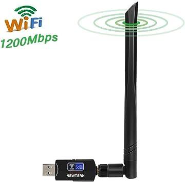 NEWTERK 1200Mbps Wifi Adaptador 5dBi Antena Wifi USB Inalámbrico Dual Band (5GHz 866Mbps / 2.4GHz 300Mbps) Receptor Wifi Dongle Wifi para Windows 10 / ...