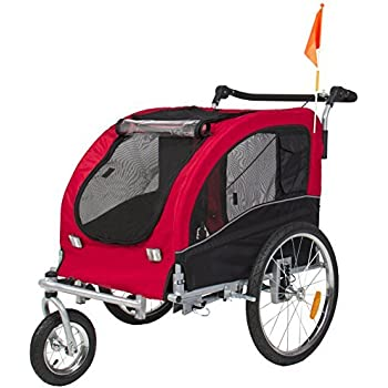 HPD 2 in 1 Pet Dog Bicycle Trailer Stroller Jogging with Suspension