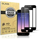 Tentoki iPhone 7/8 Screen Protector, [2 Pack] Full Coverage HD Tempered Glass Screen Protector Film 3D Touch Responsive Edge to Edge Protection iPhone 7/8, 4.7''Inch (Black)