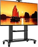 North Bayou Mobile TV Stand Heavy Duty TV Cart for Massive LCD LED OLED Flat Panel Plasma TV 60'' - 100 Inches up to 300lbs Universal TV Cart with Wheels Rolling TV Stand with Shelves CF100 Black