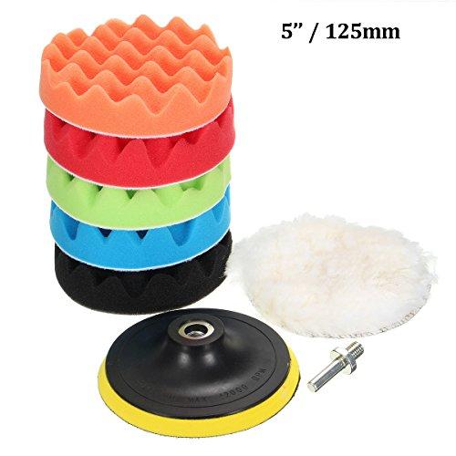 MATCC 7Pcs 5inch Polishing pads,Sponge and Woolen Polishing Waxing Buffing Pads Kits with M14 Drill Adapter, 5inchs