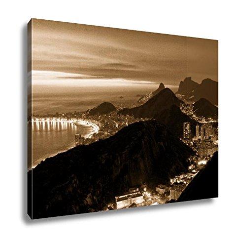 Ashley Canvas Night View Of Copacabana Beach And Botafogo In Rio De Janeiro, Kitchen Bedroom Living Room Art, Sepia 24x30, AG5984788