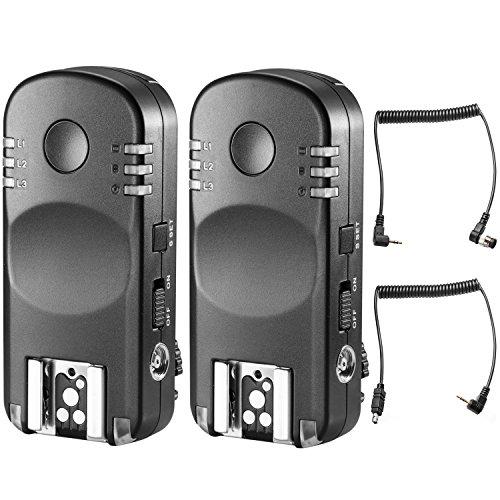 Neewer 10089353, Par Flash Disparador Transmisor Inalámbrico Remoto Cable Obturador Remoto, 2.4G Cámaras Nikon