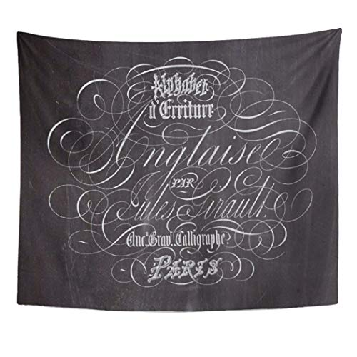 Semtomn Tapestry Artwork Wall Hanging Vintage Paris Country Chalkboard French Scripts Modern Flourish Swirls 50x60 Inches Tapestries Mattress Tablecloth Curtain Home Decor Print