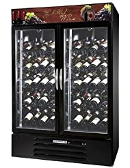 Beverage-Air MMRR49-1-B-LED MarketMax 52 Two Section Glass Door Reach-In Wine Merchandiser with LED Lighting 49 cu.ft. Capacity Black Exterior and Bottom Mounted