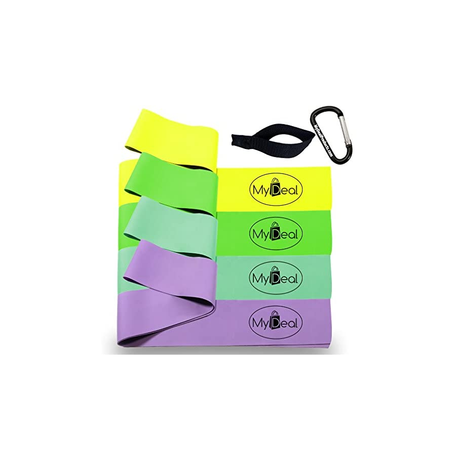 StretchGYM Fitness Stretch Band 6pc Portable Exercise Set 4 x 100% Natural Latex Flat Elastic Fitness Bands (48 x 2.5 in) Door Anchor & Carrying Case for Pilates , Yoga , Ballet , Dance , Gymnastics