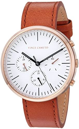 Vince Camuto Men s VC 1097WTRG Multi-Function Tan Leather Strap Watch
