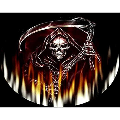 Halloween Skull Diamond Painting, Franterd 5D DIY Rhinestone Painting by Number Kits Full Drill Cross Stitch Art Home -