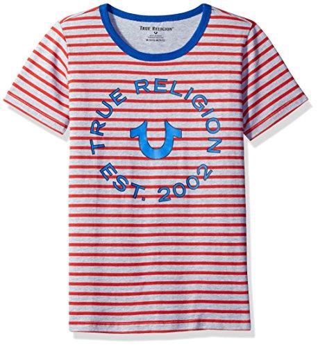 (True Religion Boys' Big Logo Tee Shirt, Jersey Stripe Bright Red, M )