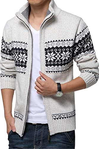 (モダンミス)Mordenmiss 厚いカーディガン メンズ ドッキングセーター