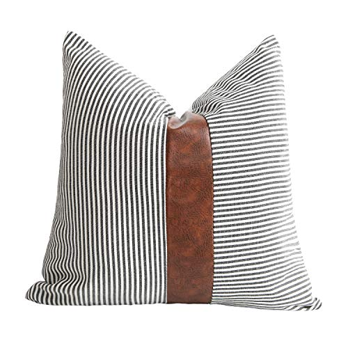 Merrycolor Farmhouse Decorative Throw Pillow Covers for Couch Sofa Stripe Faux Leather Accent Pillow Cover Modern Decor Pillow Case 18 x 18 Inch(Black)