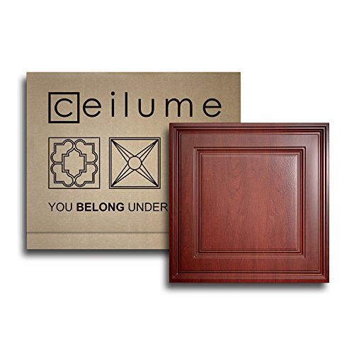 """Ceilume 10 pc Stratford Ultra-Thin Feather-Light 2x2 Lay in Ceiling Tiles - for Use in 1"""" T-Bar Ceiling Grid - Drop Ceiling Tiles (Cherry Wood)"""