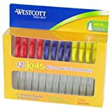 "Westcott Kids Pointed Scissors with Storage Rack, 5"", Set of 12, Assorted Colors"