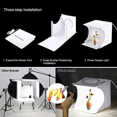 Black, White, Orange, Red, Green, Blue Hasde Mini Photo Studio Light Box,Photo Shooting Tent kit,30cm Folding Portable Ring Light Photo Lighting Studio Shooting Tent Box Kit with 6 Colors Backdrops ,