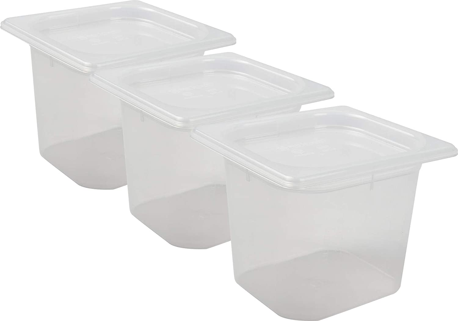 San Jamar MP16RD Mod Pans 1/6 Food Pan with Lid, Retail Pack, 2 quart (Pack of 3)
