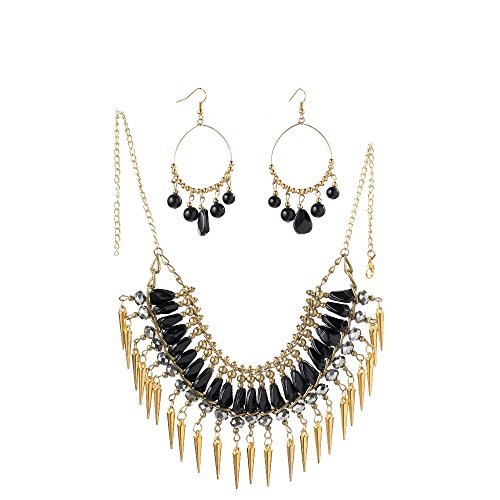 Urthn Gold Plated Jewellery Set for Women (Black) (1105621)