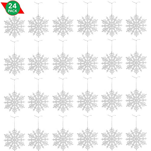 Ornativity White Glitter Snowflake Ornaments - Holiday Wedding Plastic Sparkling Hanging Snowflakes - Pack of 24