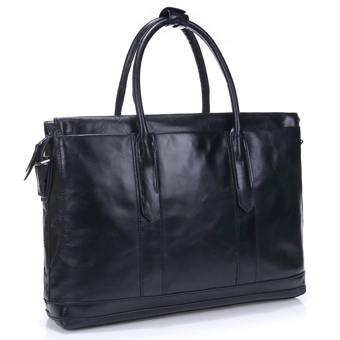 Color : Black RABILTY Mens Leather Hand Bag Travel Bag Leather Business Laptop Bag