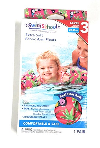 SWIMSCHOOL FABRIC ARM FLOATS BANDS-TOUCAN PRINT(PINK) 30-50 LBS(2+ years old)