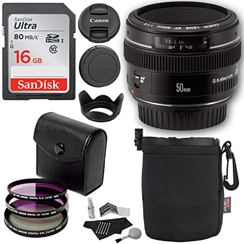 Canon EF 50mm f/1.4 USM Standard & Medium Telephoto Lens + Polaroid Optics 58mm 3 Piece Filter Set (UV, CPL, FLD) + Lexar 16GB Class 10 SDHC Card + Deluxe Polaroid Accessory Kit